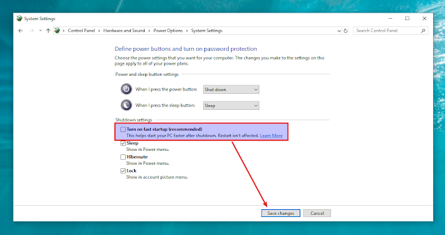 Windows disables fast startup