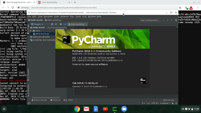 PyCharm running in the Chrome OS window
