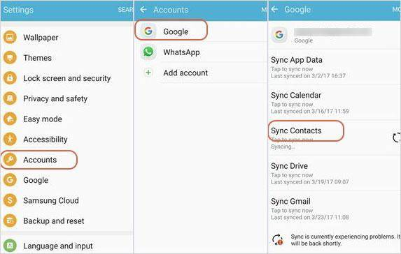 Use gmail account to sync android contacts from android to android