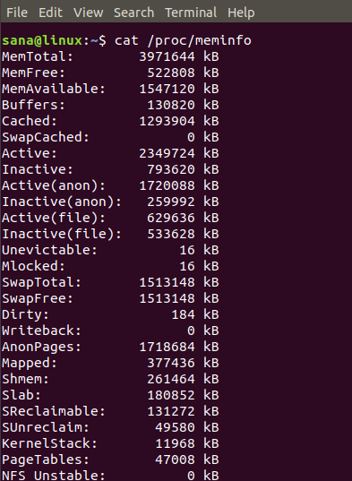 Use / proc / meminfo for memory usage information.
