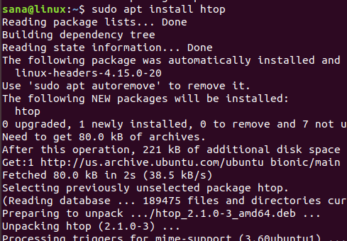 Use the htop command