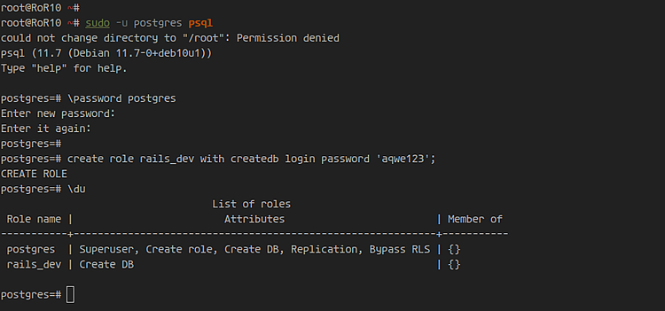 Add Rails users to Postgres