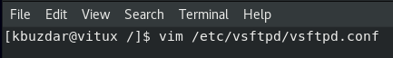 Edit the configuration file with vim