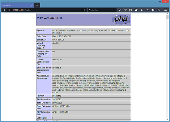 PHP information from our nginx server.