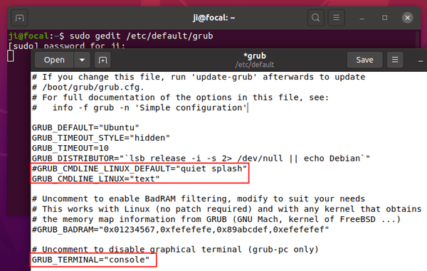 How to Boot Ubuntu 20.04 into Text / Command Console