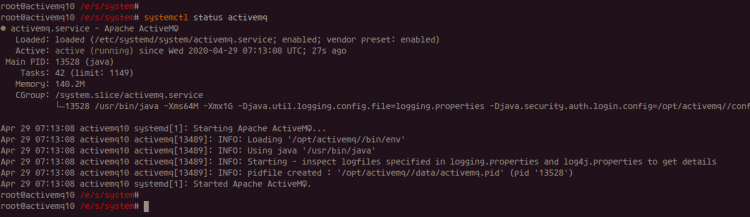Apache ActiveMQ is up and running on Debian 10