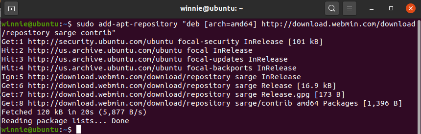 Ad Webmin repository on Ubuntu 20.04 LTS