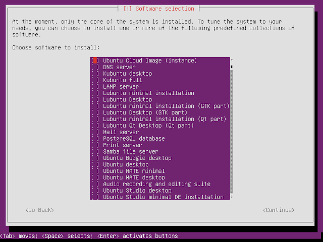 Ubuntu netboot installer selects the software to be installed