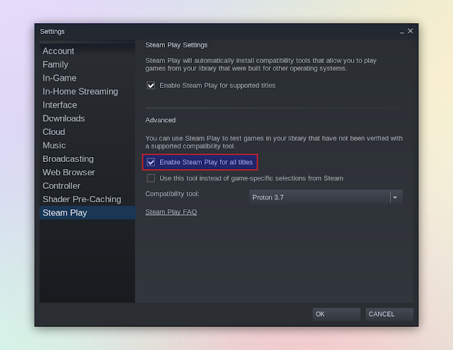 Steam supports Steam playback of all games