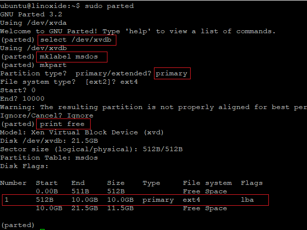 Use parted to create a new partition