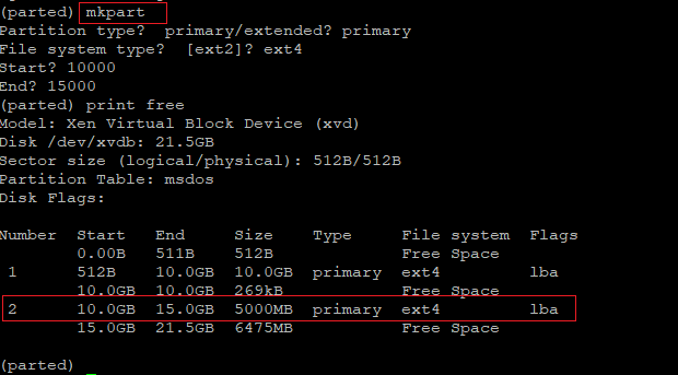 Create a second partition