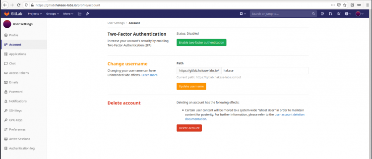 Change the default root username Gitlab