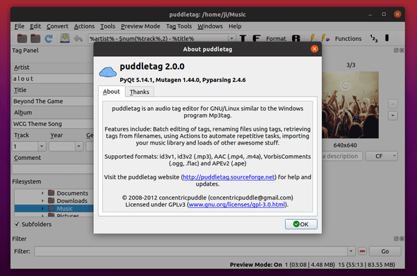 How to Install Puddletag (Python3, Qt5 Port) in Ubuntu 20.04