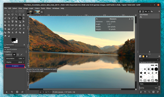 GIMP straightens the horizon automatically