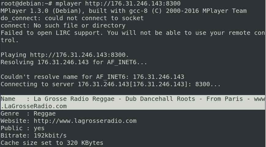 Using Mplayer to play Internet radio