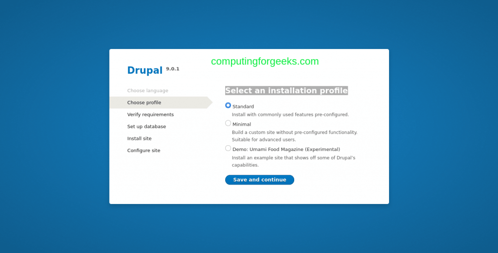 How to install Drupal 9 CMS on CentOS 8
