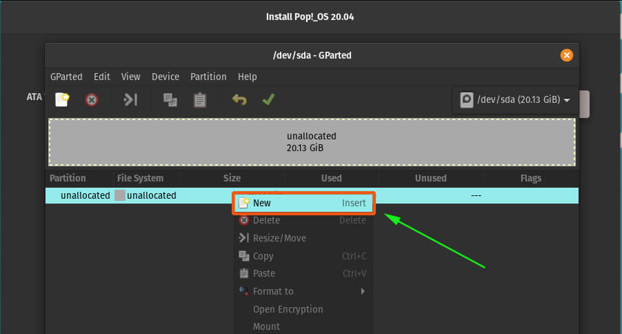 Create a new partition POP! operating system
