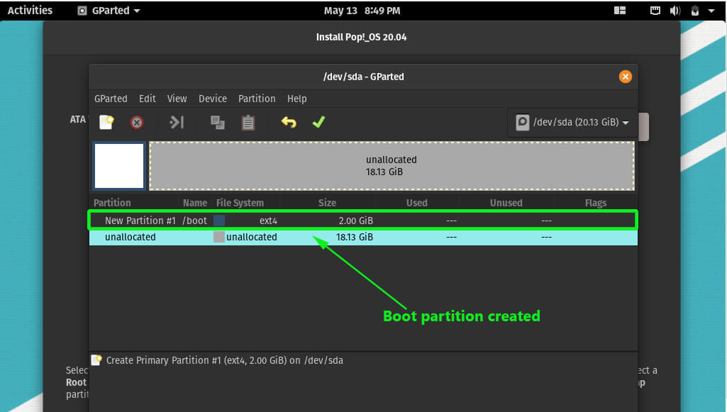 Partition created POP! operating system