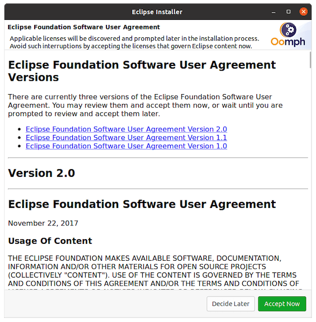 Eclipse Software User Agreement