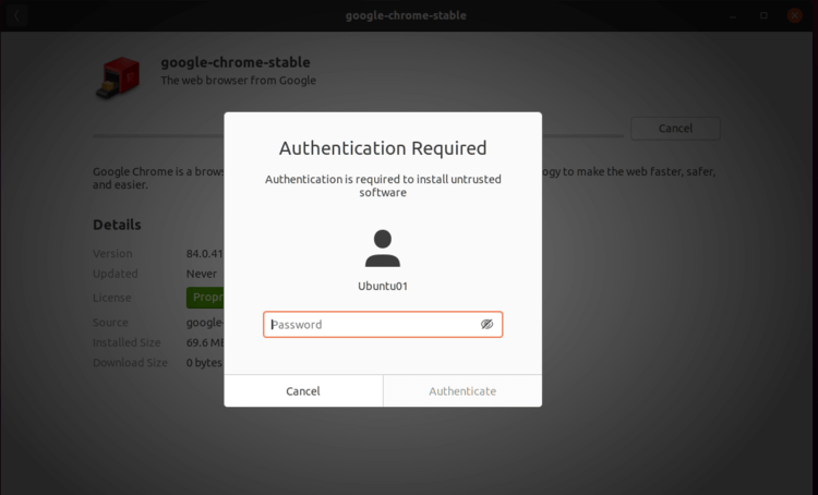Enter privileged user credentials for authentication