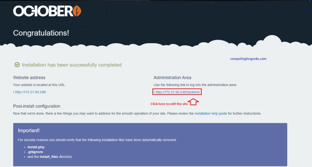 Install and configure October CMS on CentOS 8