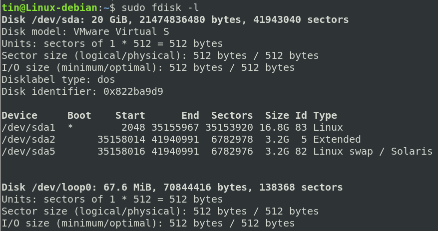 Get list of partitions using fdisk command