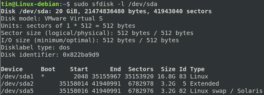 Using sfdisk command to view partitions