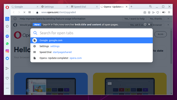 Opera 70 Released with Improved Search in Tabs