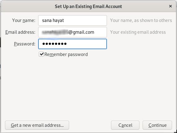 Setting up an email account