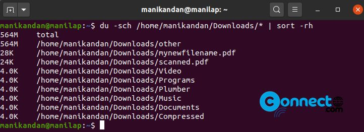 Check total directory size from Ubuntu command line