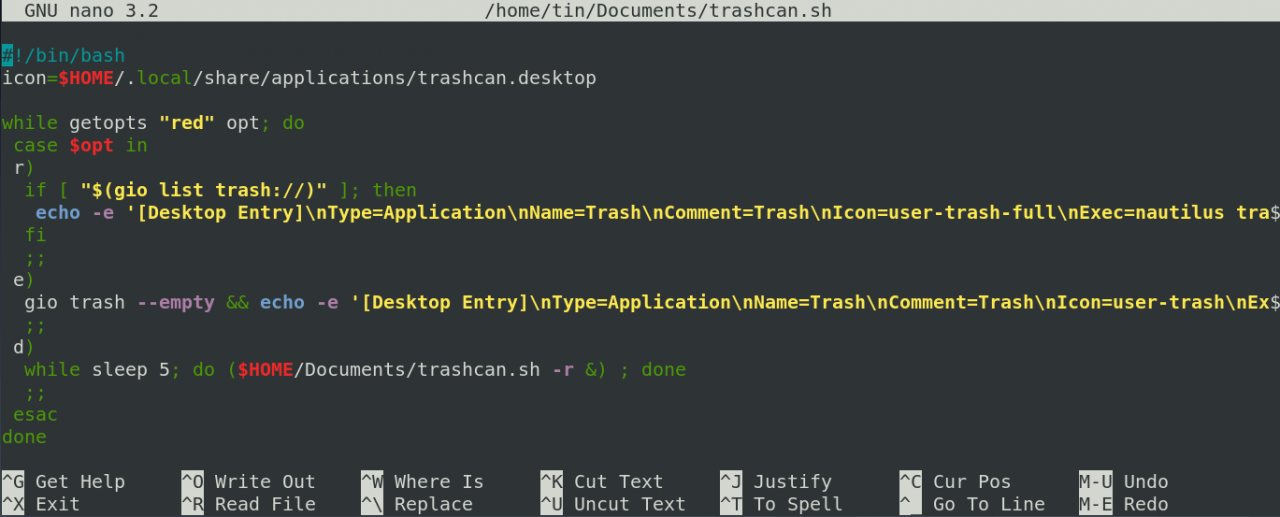 GNOME Recycle Bin in the Action Bar