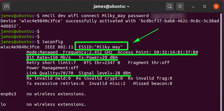 Connect to WiFi network via terminal