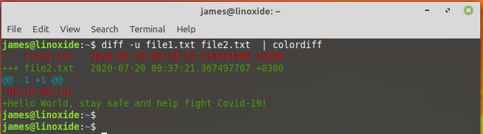 diff command coloring