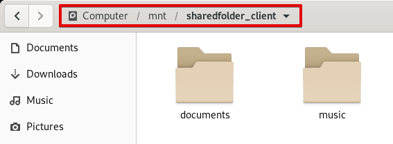 Shared folder on the client