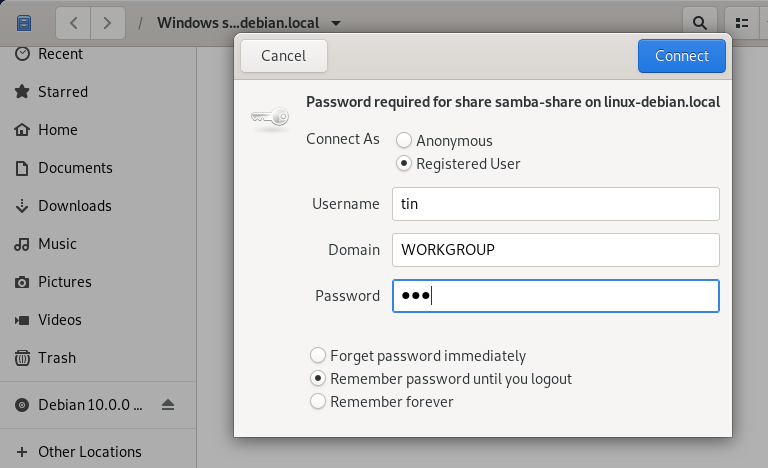Enter username, domain and password