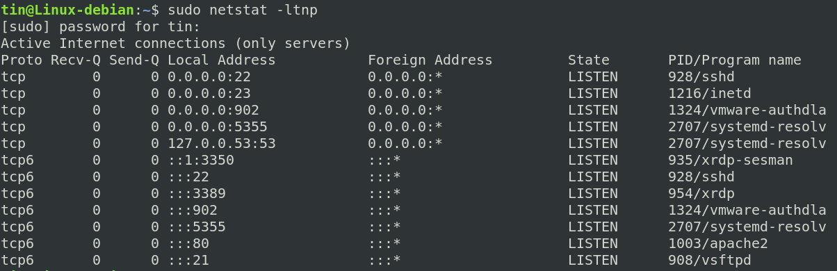 Check the port with netstat command