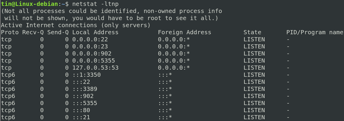 limited netstat view without sudo