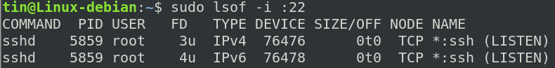 Check the port with lsof command