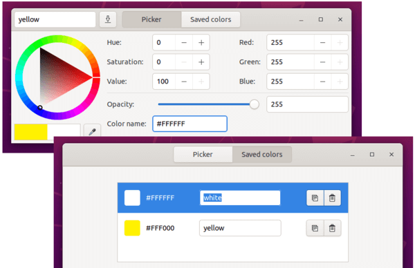 Gcolor3 – GTK + 3 color selector and picker for Linux
