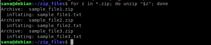 Unzip multiple files at once