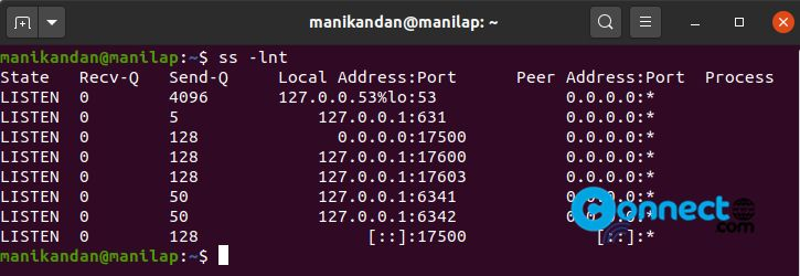 Check all open ports on Ubuntu Linux
