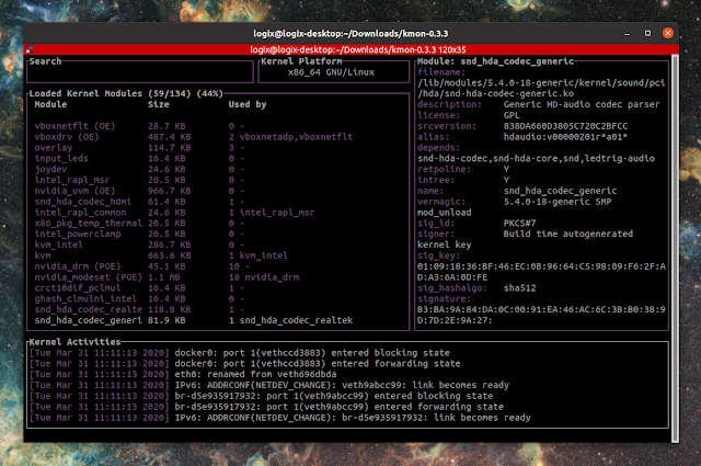 kmon linux kernel manager and activity monitor