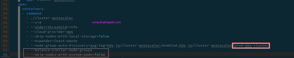 Enable the cluster autoscaler in the EKS Kubernetes cluster