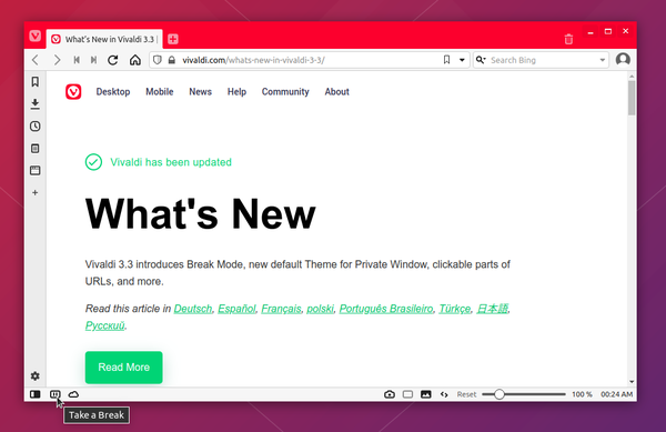 Vivaldi 3.3 Released with Break Mode to Pause the Internet