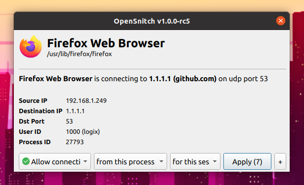 OpenSnitch Linux application firewall prompt dialog