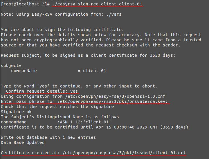 We sign the client key using the root certificate