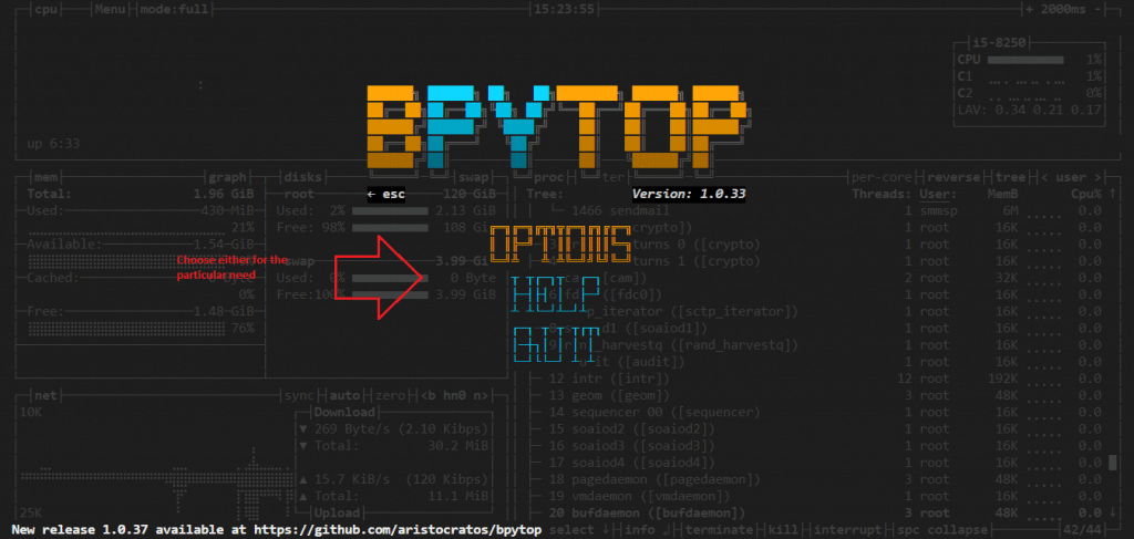 Linux and FreeBSD resource monitoring using bpytop