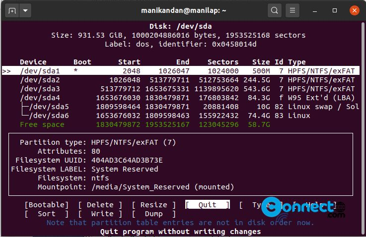 How to check hard disk partition on Ubuntu