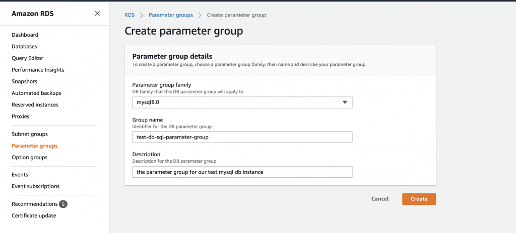Use CloudFormation to set up an AWS RDS MySQL database instance