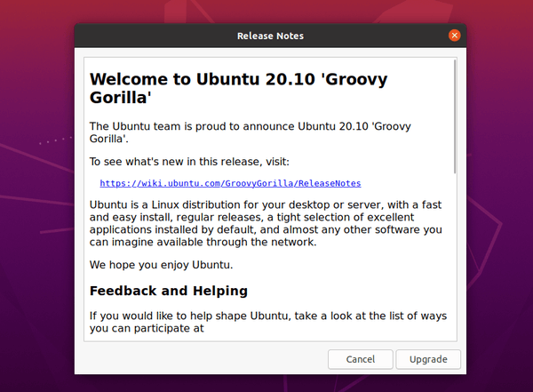 Ubuntu 20.10 has been released! How to upgrade from Ubuntu 20.04 to Ubuntu 20.10.